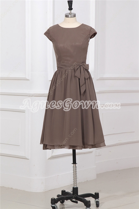 Scoop Neckline Cap Sleeves Knee Length Brown Wedding Guest Dress