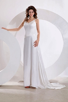 Hot Crossed Straps Back Satin Wedding Dress