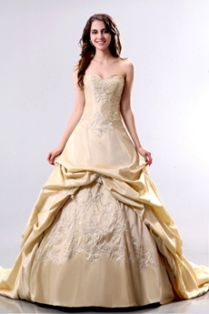 Sweetheart Taffeta Champagne Embroidery Mature Wedding Dress