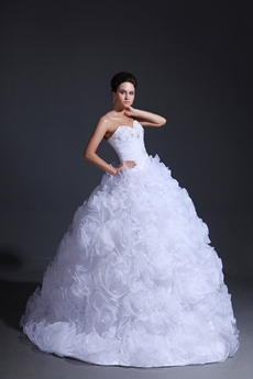 Dramatic Sweetheart Ball Gown White Organza Floral Wedding Dress