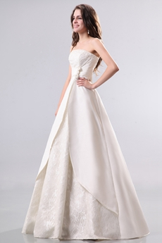 Modern Strapless Satin & Lace Plus Size Wedding Dress