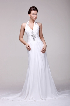 Bohemian Halter Chiffon Summer Wedding Dress For Beach Wedding