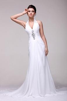 Bohemian Halter Chiffon Summer Wedding Dress For Beach Wedding
