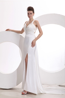Sexy Halter Long Evening Dress High Slit