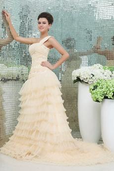 Desirable One Shoulder Champagne Wedding Dress 2016