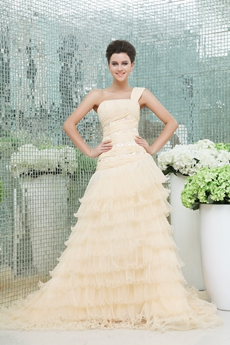 Desirable One Shoulder Champagne Wedding Dress 2016