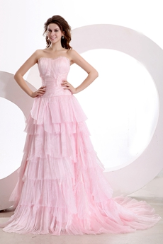 Beautiful Sweetheart Pink Tulle Mature Wedding Dress