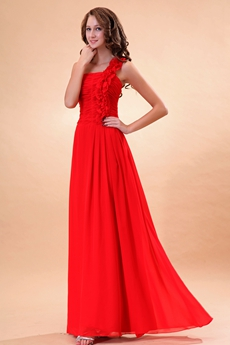 Elegance One Shoulder A-line Red Formal Evening Dress With Ruffles