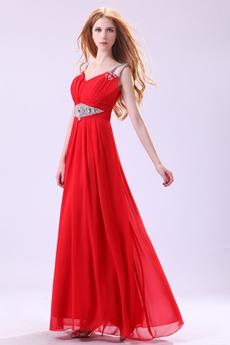 Romantic Spaghetti Straps V-Neckline Engagement Evening Dress