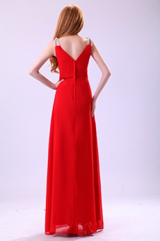 Romantic Spaghetti Straps V-Neckline Engagement Evening Dress