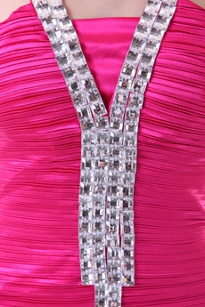 Unique Halter Mini Length Hot Pink Homecoming Dress With Rhinestones
