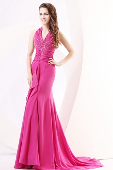 Pretty Halter A-line Fuchsia Chiffon Prom Party Dress