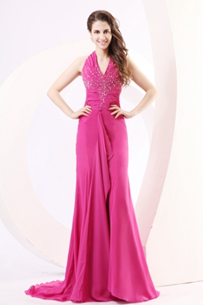 Pretty Halter A-line Fuchsia Chiffon Prom Party Dress