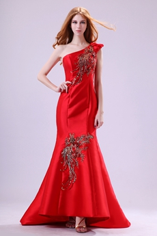 Wonderful One Shoulder Trumpet/Mermaid Red Prom Dress With Sequins