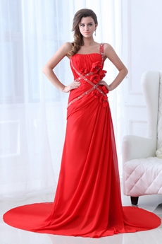 Glamour Straps A-line Full Length Red Chiffon Formal Evening Dress