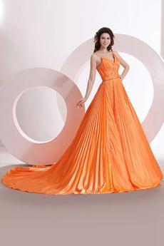 Spaghetti Straps V-Neckline Orange Satin Celebrity Prom Dress