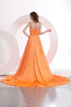 Spaghetti Straps V-Neckline Orange Satin Celebrity Prom Dress