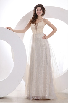 Brilliant Scoop Neckline Full Length Champagne Sequined Prom Dress