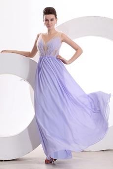 V-Neckline Column Lavender Illusion Graduation Dress