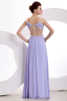 V-Neckline Column Lavender Illusion Graduation Dress