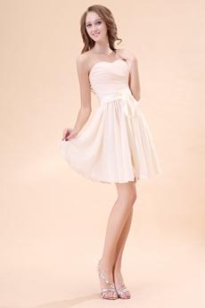 Sweetheart A-line Mini Length Champagne Homecoming Dress With Sash