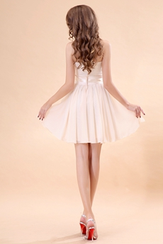 Sweetheart A-line Mini Length Champagne Homecoming Dress With Sash