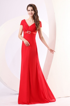 Modest V-Neckline Short Sleeves Red Chiffon Long Prom Party Dress