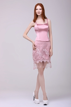 Spaghetti Straps Mini Length Dusty Rose Wedding Guest Dress With Tassel