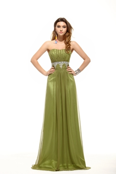 Discount Olive Green Chiffon Plus Size Prom Gown