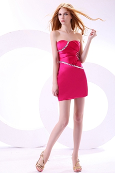 Chic Sweetheart Mini Length Fuchsia Nightclub Dress With Diamonds
