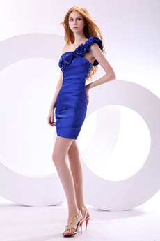 Chic One Shoulder Mini Length Royal Blue Satin Nightclub Dress