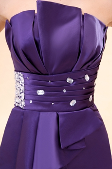 Strapless A-line Mini Length Purple Cocktail Dress With Rhinestones