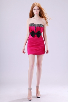 Fave Sweetheart Sheath Mini Length Fuchsia & Black Cocktail Dress