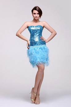 Exquisite Sparkled Blue Homecoming Dress With Fur