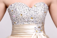 Lovely Puffy Champagne Sweet 16 Dress With Beads & Sequins