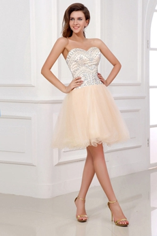 Modern Sweetheart Puffy Mini Length Champagne Sweet Sixteen Dress