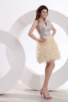 Sexy V-Neckline Puffy Mini Length Silver & Champagne Damas Dress