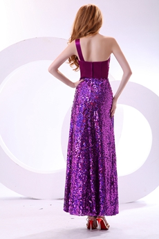 Gorgeous Ankle Length Sparkled Purple Prom Dress