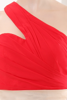 Simple One Shoulder Ankle Length Red Chiffon Junior Prom Dress