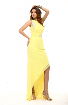 Unique One Shoulder High Low Yellow Homecoming Dress