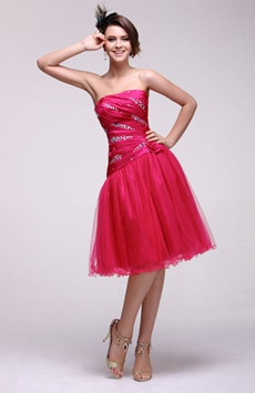 Strapless Knee Length Fuchsia Junior Prom Gown