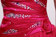 Strapless Knee Length Fuchsia Junior Prom Gown