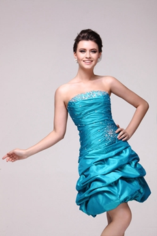 Lovely Strapless Taffeta Short Pick Up Damas Dress
