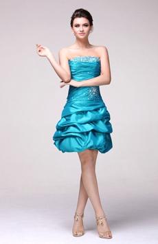 Lovely Strapless Taffeta Short Pick Up Damas Dress