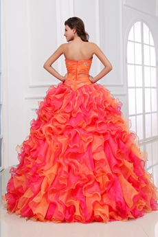 Breathtaking Ruffled Colorful Quinceanera Dress