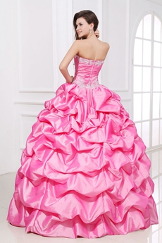 Classic Ball Gown Hot Pink Taffeta Vestidos de Quinceanera Dress