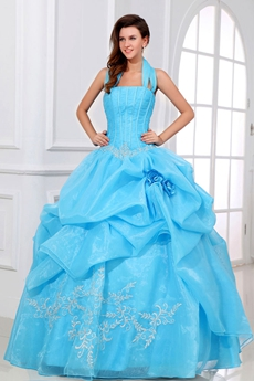 Attractive Halter Ball Gown Blue Organza Quince Dress