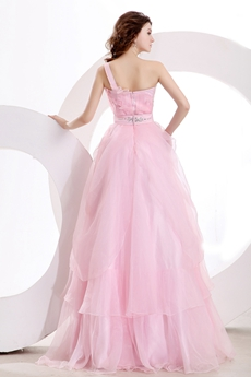 Sassy One Shoulder Puffy Pink Tulle Princess Quinceanera Dress