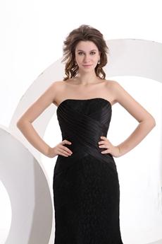 Strapless Tea Length Black Lace Wedding Guest Dress