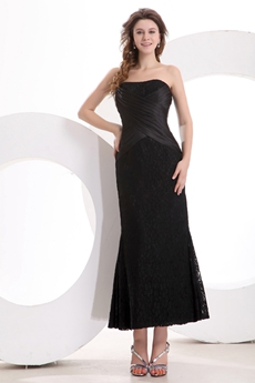 Strapless Tea Length Black Lace Wedding Guest Dress